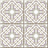 För modellkontroll för keramisk tegelplatta vinranka för ram för kors för virvel för spiral för kurva vektor illustrationer