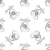 För modellkontur för jordgubbe sömlös symbol Arkivbilder