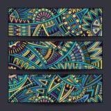 För modellkort för abstrakt vektor etnisk uppsättning Royaltyfri Bild