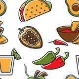 För modellMexico för mexicansk mat sömlös disk kokkonst vektor illustrationer