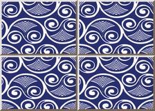 För modellrunda för keramisk tegelplatta fan för ram för kors för virvel för kurva för spiral V stock illustrationer