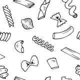 För modellsamlingen för italiensk pasta skissar den sömlösa vektorn tecknad hand vektor illustrationer