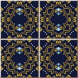 För modellspiral för keramisk tegelplatta blått f för ram för virvel för kors för kurva guld- royaltyfri illustrationer