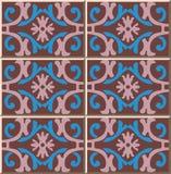 För modellspiral för keramisk tegelplatta blomma för ram för kors för kurva oval royaltyfri illustrationer