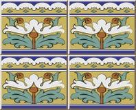 För modellspiral för keramisk tegelplatta flo för botanisk trädgård för ram för kors för kurva royaltyfri illustrationer