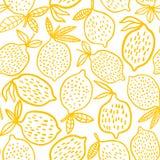 För modellvektor för citron sömlös illustration Gömma i handflatan med havet och träbrädet Arkivfoton