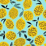 För modellvektor för citron sömlös illustration Gömma i handflatan med havet och träbrädet Arkivbilder