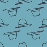 För modellvektor för hatt dragen sömlös hand Arkivbild