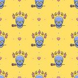 För modellvektor för skalle sömlösa symboler: skalle ros, brand, hjärta stock illustrationer