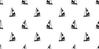 För modellvektor för fartyg bakgrund för tapet för sömlös för yacht för segelbåt för ankare fyr för roder nautisk maritim tropisk stock illustrationer
