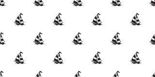 För modellvektor för fartyg halsduk för tapet för repetition för bakgrund för tegelplatta för sömlöst för yacht ankare för roder  vektor illustrationer