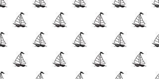 För modellvektor för fartyg tapet för repetition för bakgrund för sömlös för segelbåt för yacht för ankare fyr för roder maritim  stock illustrationer