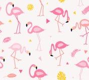För modellvektor för gullig flamingo sömlös illustration Arkivfoto
