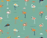För modellvektor för gullig flamingo sömlös illustration Royaltyfri Bild