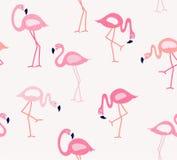 För modellvektor för gullig flamingo sömlös illustration Arkivfoton