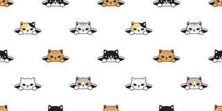 För modellvektor för katt sömlös avel för bakgrund för tegelplatta för tapet för repetition för hål för husdjur för k vektor illustrationer