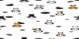 För modellvektor för katt sömlös avel för bakgrund för tegelplatta för tapet för repetition för husdjur för hål för kalikå för ka stock illustrationer