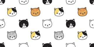 För modellvektor för katt sömlös illustration för tecknad film för bakgrund för tegelplatta för tapet för repetition för avel för royaltyfri illustrationer