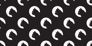 För modellvektor för katt sömlös svart för bakgrund för tegelplatta för tapet för repetition för avel för husdjur för huvud för k vektor illustrationer