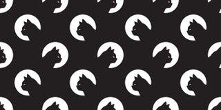 För modellvektor för katt sömlös svart för bakgrund för tegelplatta för tapet för repetition för avel för husdjur för huvud för k royaltyfri illustrationer