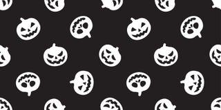 För modellvektor för pumpa sömlös svart för tapet för repetition för bakgrund för tegelplatta för spöke för allhelgonaafton halsd stock illustrationer