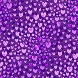 För modellvektor för purpurfärgade hjärtor bakgrund seamless valentiner för dagmodell Arkivfoton