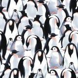 För modellwitn för vattenfärg sömlös flock för ` s för pingvin på snön royaltyfri foto