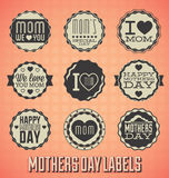 För moderdag för tappning lyckliga etiketter och symboler Arkivfoto