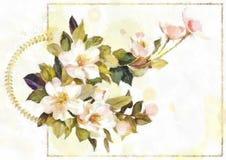 För moderdag för vattenfärg lyckligt kort för inbjudan för bröllop för tappning för elegans för bakgrund med vita Jasmine Flowers Arkivbilder
