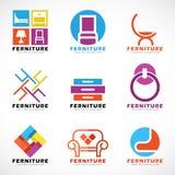 För modern fastställd design logovektor för möblemang och för dekor stock illustrationer