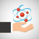 För molekylstruktur för hand grafisk hållande kemikalie stock illustrationer