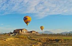 För Monte de Oro för ballonger för varm luft vingårdar vinodling Arkivbilder