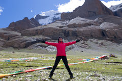 För monteringsKailash Himalayas för yoga near Tibet Kailas område yatra Royaltyfria Foton