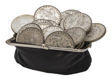 För Morgan för tappningmynthandväska isolerade dolars silver Royaltyfria Foton