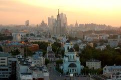för moscow för buildig hög sikt panorama Fotografering för Bildbyråer
