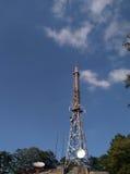 för moscow för områdesstadsdmitrov vinter för torn för telekommunikation natt Arkivbild
