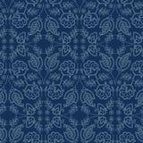 För motivsashiko för blom- blad damast stil S?ml?s vektormodell f?r japanskt handarbete Snör åt indigoblå blått för handhäftklamm vektor illustrationer