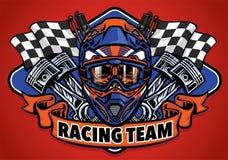 För motocrosshjälm för skalle bärande tävlings- lag stock illustrationer