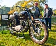 För motorcykelJunak för klassiker polsk sikt closeup Arkivbilder