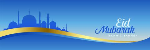F?r mubarak f?r elegant eid design bl? baner stock illustrationer