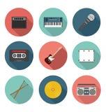 För musik och plan symbolsuppsättning för underhållning Royaltyfri Fotografi