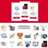 För musik och plant designbegrepp för konst för onboarding mobilapp-skärm Fotografering för Bildbyråer