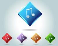 För musikanmärkning för vektor glansig symbol/knapp och multicolo Royaltyfri Fotografi