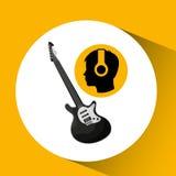 För musikgitarr för Head kontur lyssnande elkraft stock illustrationer