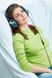 för musikkvinna för hörlurar lyssnande barn Royaltyfri Fotografi