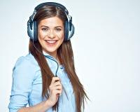 för musikkvinna för lycklig hörlurar lyssnande barn Arkivbilder