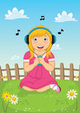 För musikvektor för flicka lyssnande illustration Fotografering för Bildbyråer