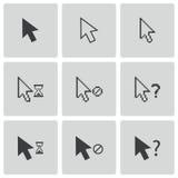 För musmarkör för vektor svart uppsättning för symboler Arkivbilder