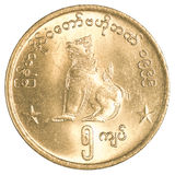 För myanmar för 5 Burmese mynt kyat Arkivfoto