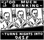 För mycket dricka royaltyfri illustrationer